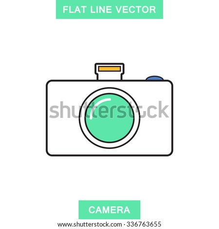 Digital camera,photography,video flat line,linear style icon,element for web design,apps,business - stock vector