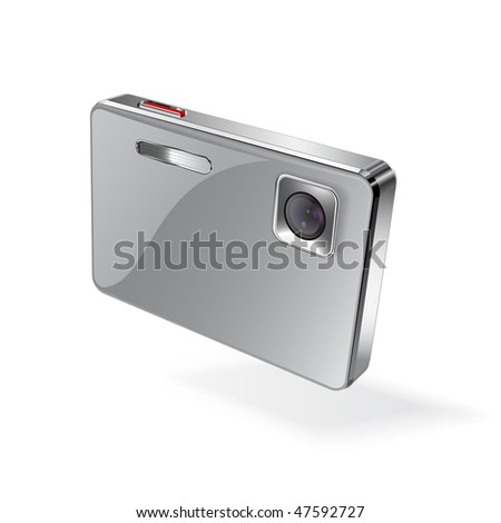 Digital camera, vector - stock vector