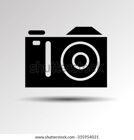 digital camera vector black - stock vector
