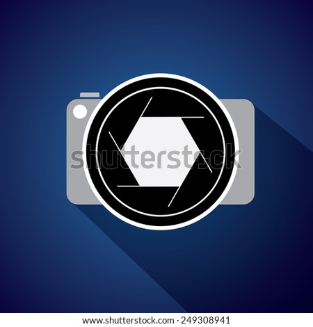 digital camera with large lens & shutter - concept vector icon. This also represents photographer taking pictures, photographic equipment for capturing images, etc - stock vector