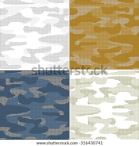Digital camouflage seamless patterns - vector set points. - stock vector