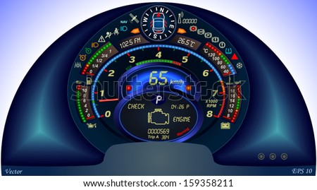 Digital Car Dashboard - stock vector