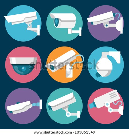 Digital CCTV multiple security cameras color stickers set isolated vector illustration - stock vector
