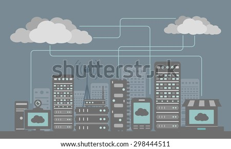 Digital City - stock vector