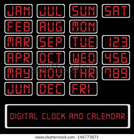Digital Clock And Calendar - stock vector