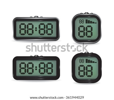 Digital clock and stopwatch illustration