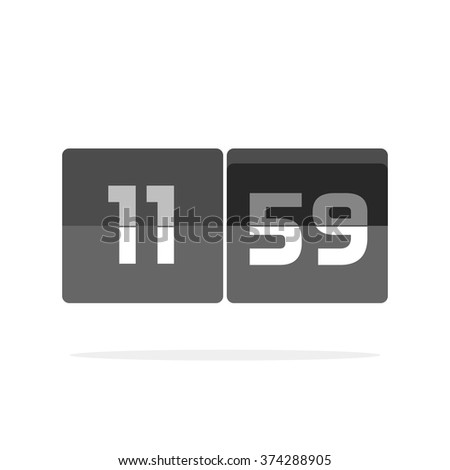 Digital clock countdown vector icon, abstract black and white mechanical clock, retro old flat style timer display, modern simple illustration design isolated on white - stock vector