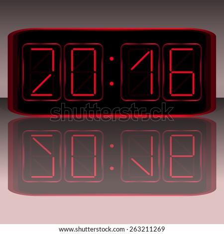 Digital Clock . Digital   illustration - stock vector