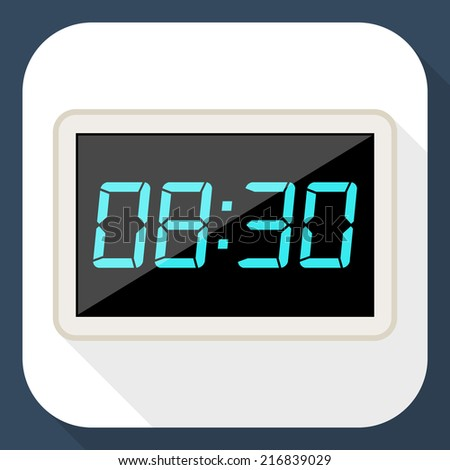 Digital clock flat icon with long shadow - stock vector
