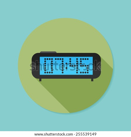 Digital clock. Flat icon with long shadow. EPS10 - stock vector