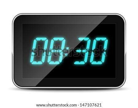 Digital clock icon, vector illustration - stock vector