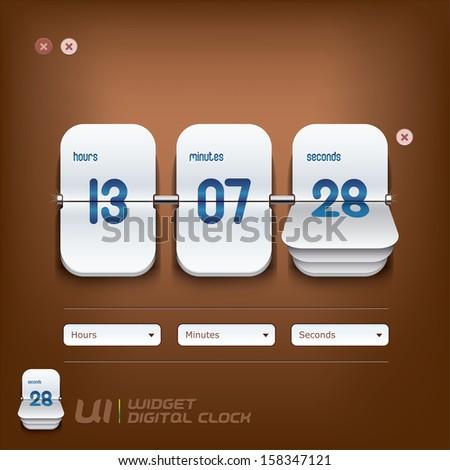 Digital Clock Illustration, Sign, Buttons, Symbol, Emblem, Logo for Web Design, User Interface, Mobile Phone, Baby, Children, People - stock vector