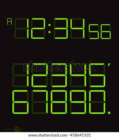 Digital clock & number set - stock vector