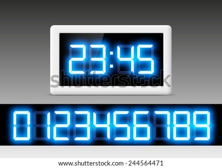 digital clock with a set of numbers