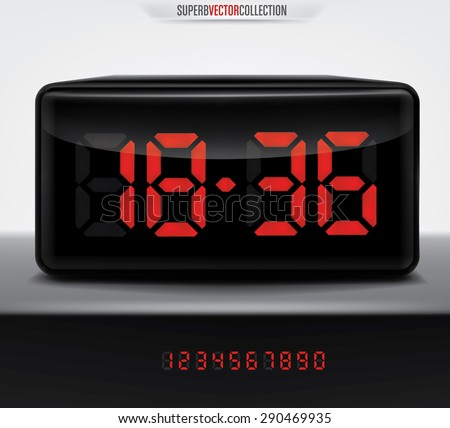 Digital clock with all digits included. High quality smooth edged vector. - stock vector