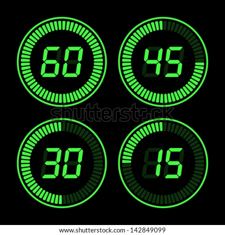 Digital countdown time green on a black background