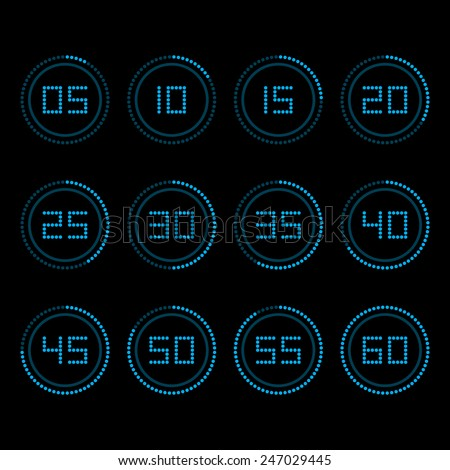 Digital countdown timer with five minutes interval. - stock vector