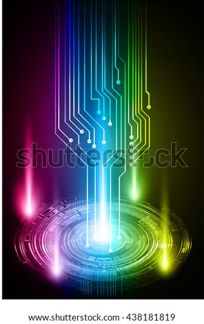 digital data background,blue pink yellow abstract light hi tech pixel internet technology, Cyber security concept, Cyber data digital computer, move motion vector. spark - stock vector