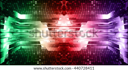 digital data background, green red purple abstract light hi tech pixel internet technology, Cyber security concept, Cyber data digital computer. eye scan virus. motion move speed. vector - stock vector