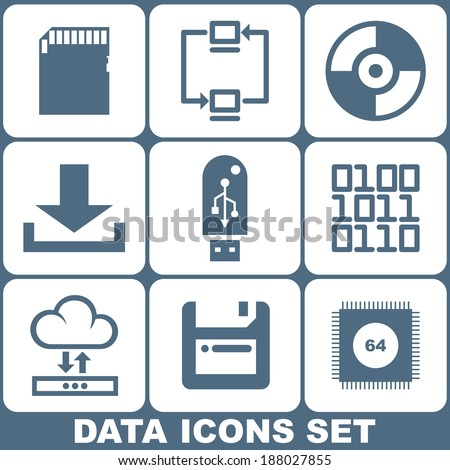 Digital Data Vector Icons Set - stock vector