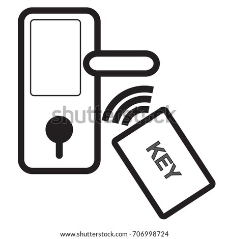 door lock and key black and white. Perfect And Digital Door Lock And Key Wireless Card For Unlock On Isolated Background  With Simple Vector Design With Door Lock And Key Black White