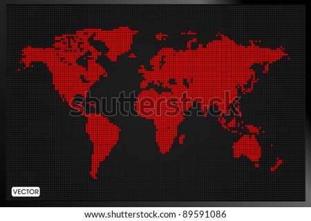 Digital Dotted World Map - stock vector