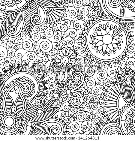 digital drawing black and white ornate seamless flower paisley design background - stock vector