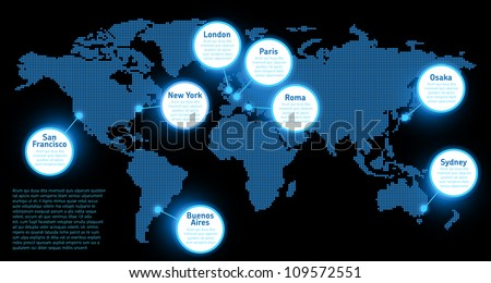 Digital Earth map concept - stock vector