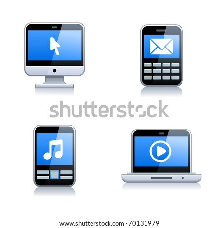 Digital Electrical Appliance Icon Set - stock vector