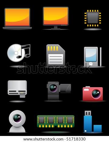 Digital Electrical Appliance Icon Set -- Premium Series - stock vector