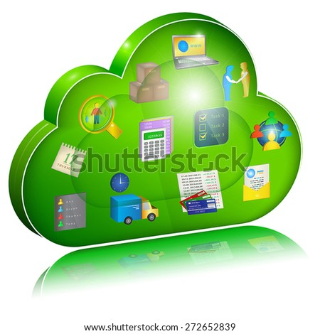 Digital enterprise management in cloud application. Concept icon. Vector illustration, isolated on white background. - stock vector