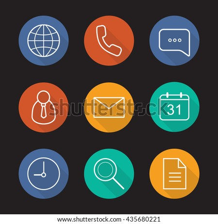 Digital flat linear long shadow icons set. Worldwide globe sign, handset, chat bubble, admin user, sms, calendar, time, search, document symbols. Office items. Vector line symbols - stock vector