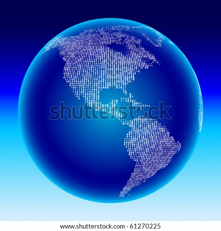 Digital globe. Americas. - stock vector