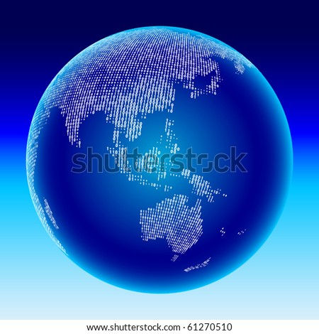 Digital globe. Australia, Asia. - stock vector