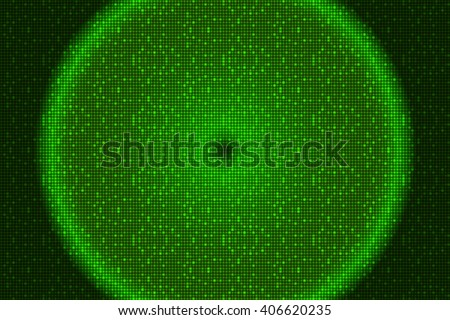 Digital green theme with circle. Bright background image with a square pixel grid, flares and flashes. Vector illustration. For use in printing, flyer design, wallpaper, presentations.
