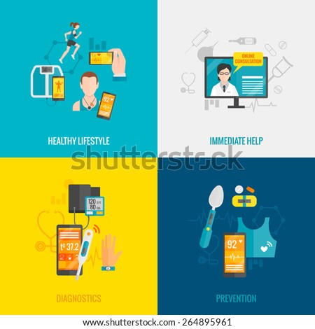 Digital health design concept set with healthy lifestyle immediate help diagnostics and prevention flat icons isolated vector illustration - stock vector