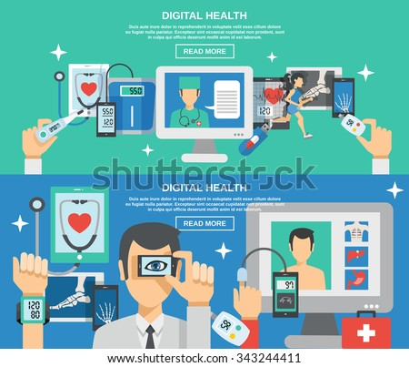 Digital health horizontal banner set with mobile medicine elements isolated vector illustration - stock vector