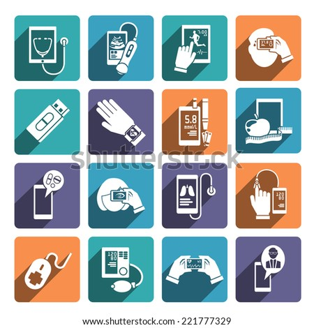Digital health icons set of glucose level control fitness and diet app isolated vector illustration - stock vector
