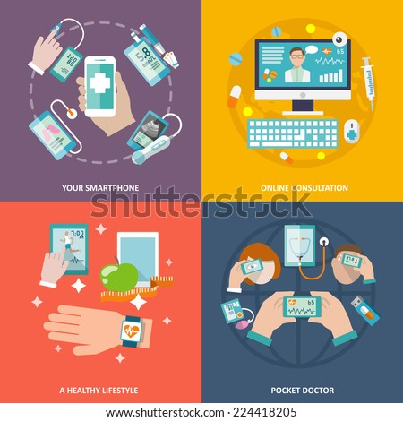 Digital health your smartphone online consultation healthy lifestyle pocket doctor icons flat set isolated vector illustration - stock vector