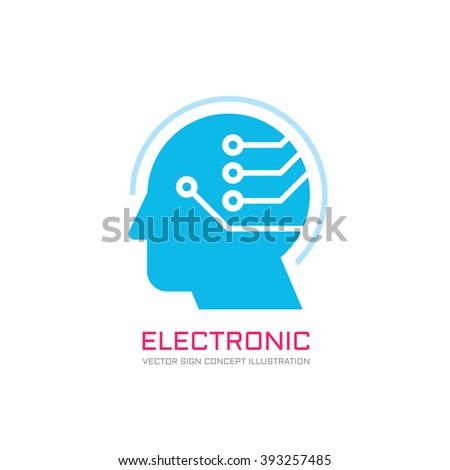 Digital human head vector logo concept illustration. Creative idea. Learning chip sign. Innovation technology symbol. Modern communication. Manager. - stock vector