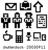 Digital-icons. The set of pixels (digital drawings) business&communication icons. Vector illustration. - stock vector