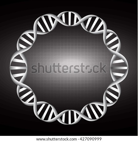 Digital illustration black DNA structure, Circle DNA, DNA molecules, DNA genetic sign, elements and icon. - stock vector