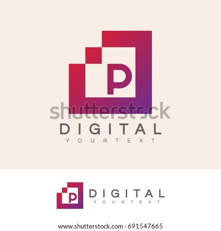 digital initial Letter P Logo design