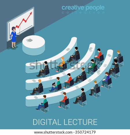 Digital lecture web conference flat 3d isometric education knowledge concept web vector illustration. Class auditory wi-fi sign shaped table style interior. Creative people collection. - stock vector
