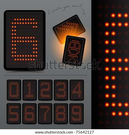 Digital LED Scoreboard Numbers. Grouped elements, vector illustration - stock vector
