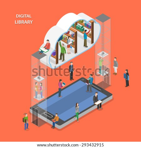 Digital library flat isometric vector concept. People going to cloud library through mobile device. - stock vector