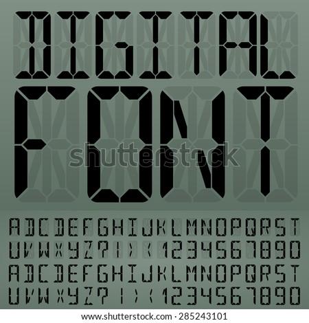 Digital Liquid Crystal Display Font Gray Background. Vector set - stock vector