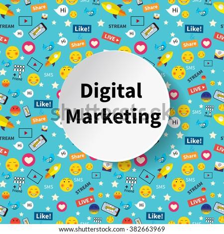 Digital marketing abstract pattern. Social media icons, smile, rocket ship, bird, mail, smart phone. Vector illustration - stock vector