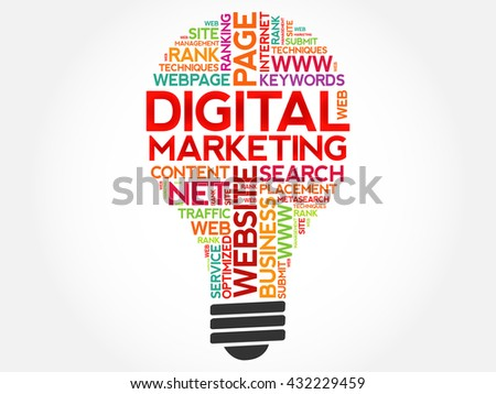 Digital Marketing bulb word cloud, business concept - stock vector
