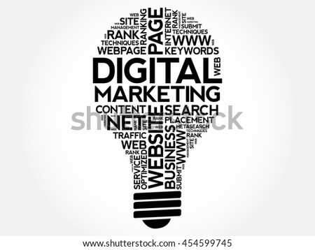 Digital Marketing bulb word cloud collage, business concept background - stock vector